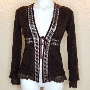 Hazel Cardigan Wool Ribbon & Lace Chocolate Medium